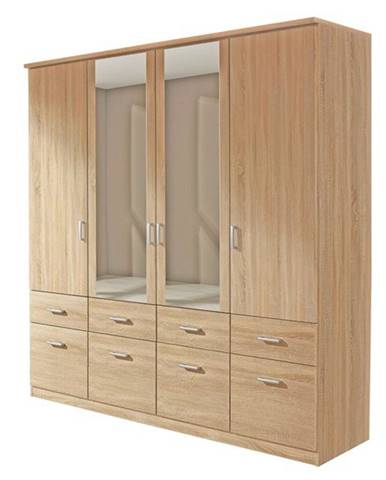 Šatníková skriňa BENETT dub sonoma, 4 dvere, 8 zásuviek, 2 zrkadlá