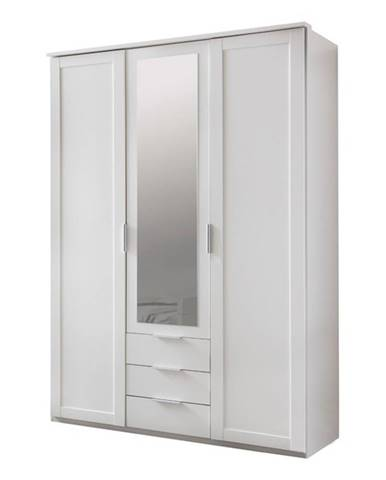 Šatníková skriňa NATHAN biela, 135 cm, 1 zrkadlo