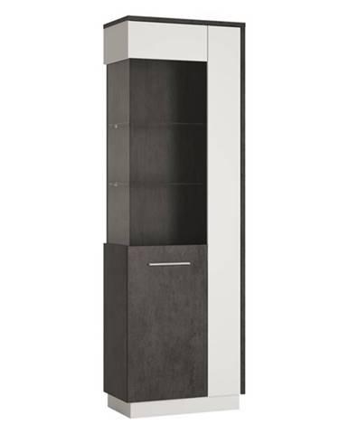 Vitrína ZINGARO ľavá, 2-dverová, biela/sivá