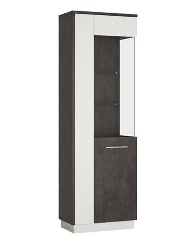 Vitrína ZINGARO pravá, 2-dverová, biela/sivá