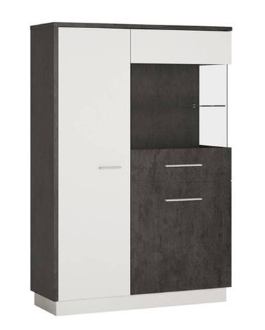 Vitrína ZINGARO pravá, 3-dverová, biela/sivá
