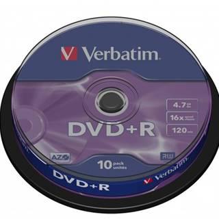Disk Verbatim DVD+R, 4,7GB, bez možnosti potlače, 10 ks 43498
