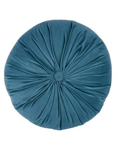 Modrý zamatový dekoratívny vankúš Tiseco Home Studio Velvet, ø 38 cm
