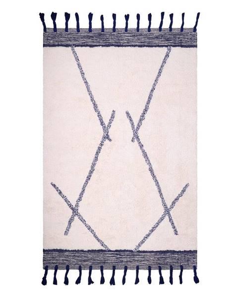 Nattiot Bielo-sivý bavlnený ručne vyrobený koberec Nattiot Shaanti, 110 x 170 cm