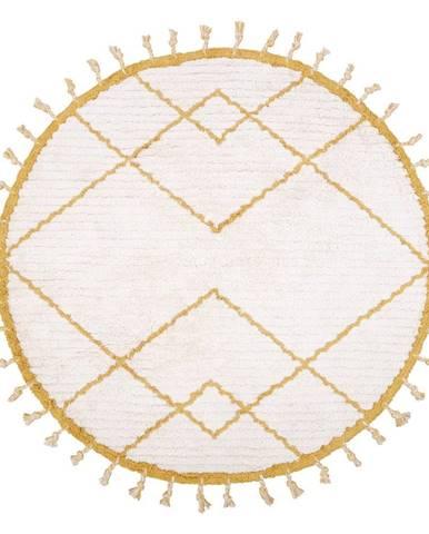 Bielo-žltý bavlnený ručne vyrobený koberec Nattiot, ø 120 cm