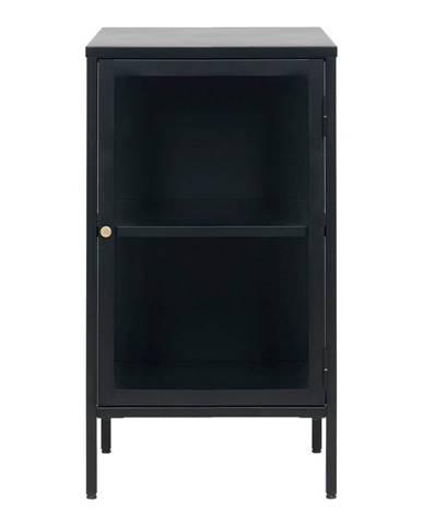 Čierna komoda s presklenými dverami Unique Furniture Carmel, dĺžka 45,3 cm