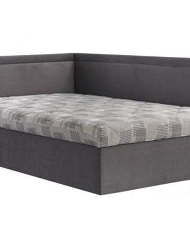 Rohová posteľ Travis ľavá120x200, šedá látka%