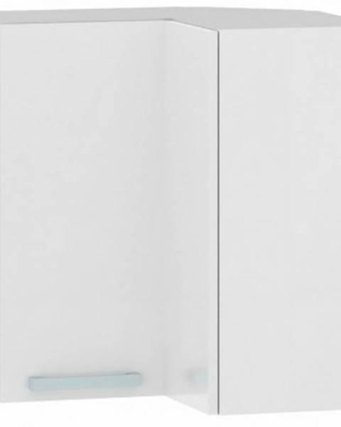 ASKO - NÁBYTOK Horná rohová kuchynská skrinka One EH65RL, biely lesk, šírka 65 cm%