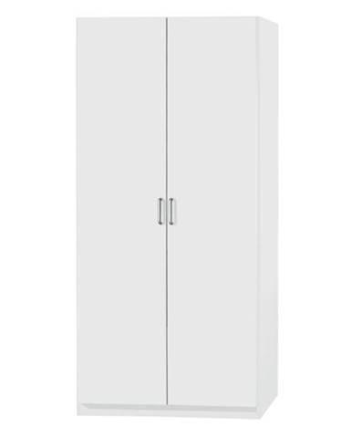 Policová skriňa PARKER biela, výška 210 cm, hĺbka 54 cm