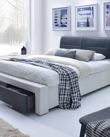 Cassandra S 140 čalúnená manželská posteľ s roštom biela