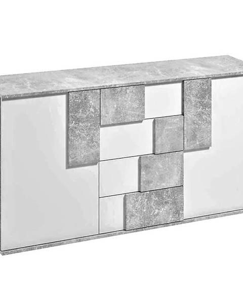 MERKURY MARKET Komoda Elstra II biela/beton