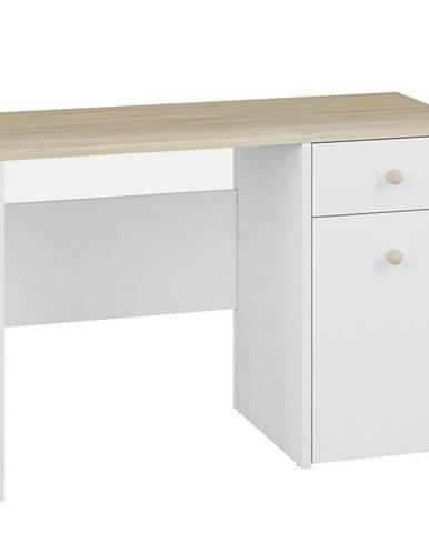 Písací stôl Elmo biely /buk fjord