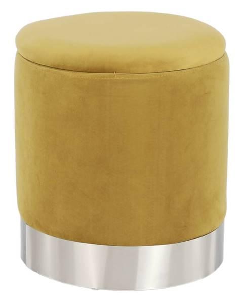 Kondela Taburet s úložným priestorom zlatá Velvet látka/strieborná chróm DARON rozbalený tovar
