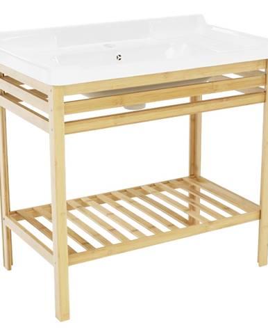 Stôl s keramickým umývadlom prírodná/biela SELENE TYP 6 rozbalený tovar