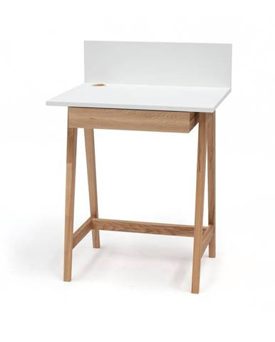 Biely písací stôl s podnožím z jaseňového dreva Ragaba Luka, dĺžka 65 cm