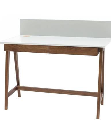 Biely písací stôl s podnožím z jaseňového dreva Ragaba Luka Oak, dĺžka 85 cm