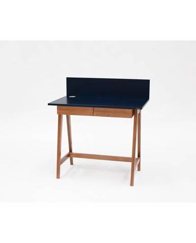Petrolejovomodrý písací stôl s podnožím z jaseňového dreva Ragaba Luka Oak, dĺžka 85 cm