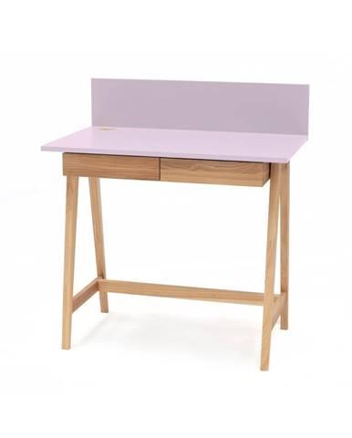 Ružový písací stôl s podnožím z jaseňového dreva Ragaba Luka, dĺžka 85 cm