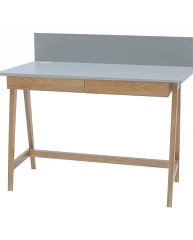Sivý písací stôl s podnožím z jaseňového dreva Ragaba Luka, dĺžka 110 cm