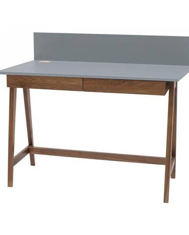 Sivý písací stôl s podnožím z jaseňového dreva Ragaba Luka Oak, dĺžka 85 cm
