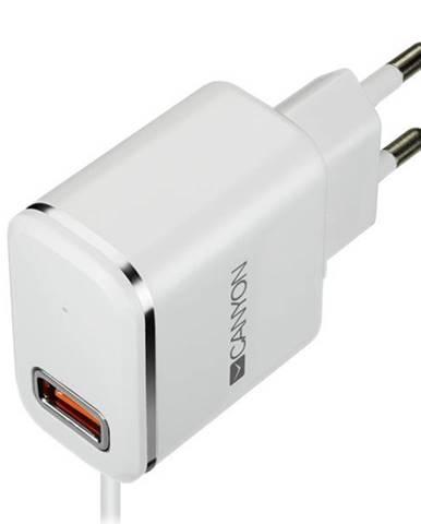 Nabíjačka do siete Canyon 1x USB, Lightning kabel 1m biela