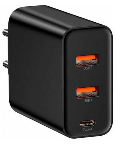 Nabíjačka do siete Baseus USB-C, 2x USB QC 3.0, 60W čierna