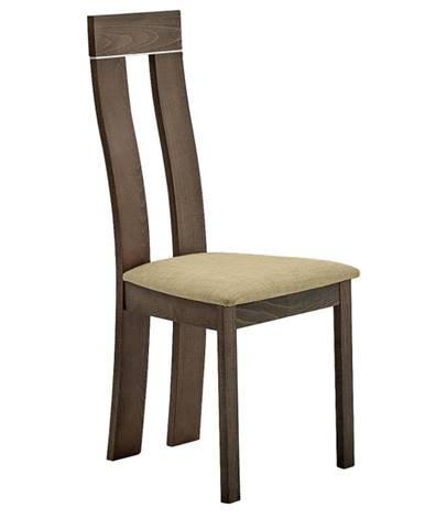 Drevená stolička buk merlot/Magnolia hnedá látka DESI