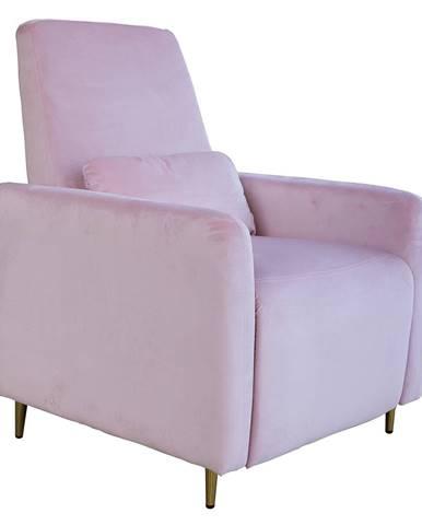 Relaxačné polohovacie kreslo púdrovo ružová Velvet látka NAURO