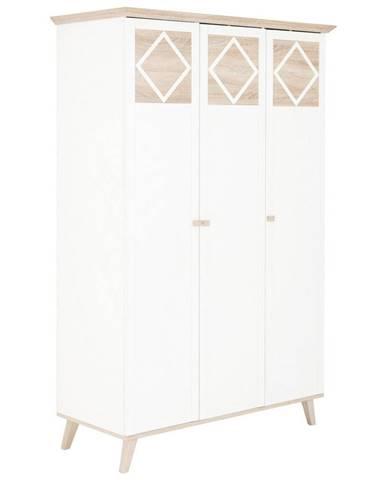 Carryhome SKRIŇA S OTOČNÝMI DVERAMI, biela, farby dubu, 133/204/59 cm - biela, farby dubu