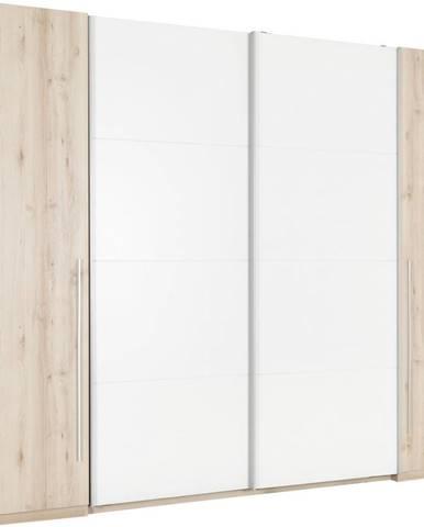 Ti`me ŠATNÍKOVÁ SKRIŇA, biela, farby buku, 270/225/61 cm - biela, farby buku