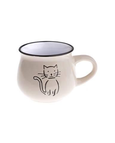 Keramický hrnček Mačka 75 ml, smotanová
