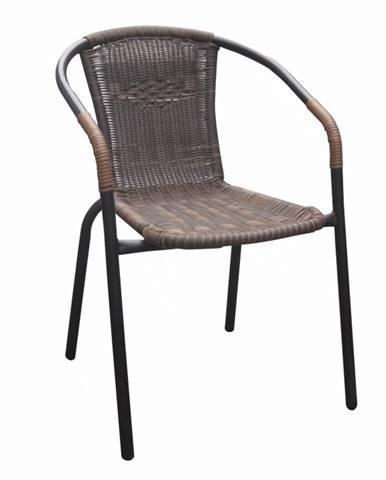 Stohovateľná stolička hnedá/čierny kov DOREN