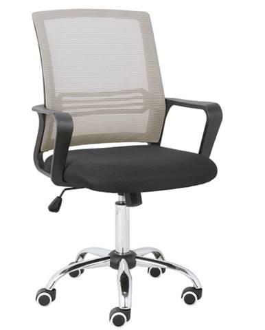 Kancelárska stolička sieťovina sivohnedá TAUPE/látka čierna APOLO