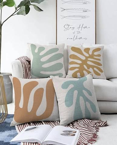 Súprava 4 obliečok na vankúše Minimalist Cushion Covers Alga, 55 x 55 cm