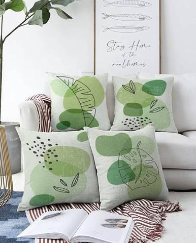 Súprava 4 obliečok na vankúše Minimalist Cushion Covers Zamioculus, 55 x 55 cm