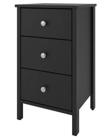 Nočný stolík TYLER čierna, 3 zásuvky
