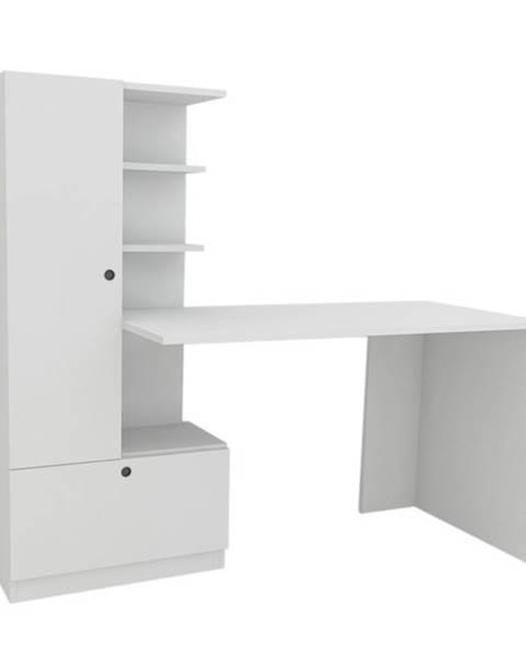 Sconto Písací stôl s regálom DOMINGOS biela