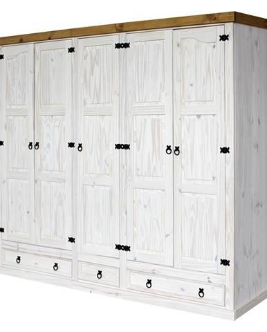 Skriňa 5-dverová CORONA biely vosk