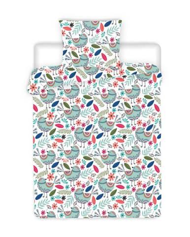 4Home Krepové obliečky Birds, 220 x 200 cm, 2 ks 70 x 90 cm