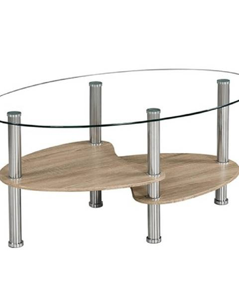Kondela Konferenčný stolík oceľ/číre sklo/dub sonoma PANTY NEW