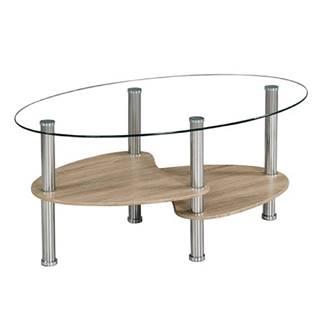 Konferenčný stolík oceľ/číre sklo/dub sonoma PANTY NEW