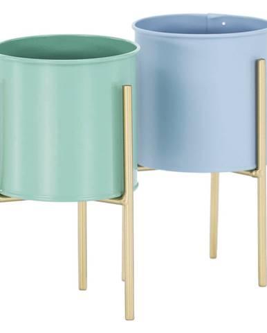Set 2 kovových kvetináčov modrá/neo mint/zlatá ROZEL SET
