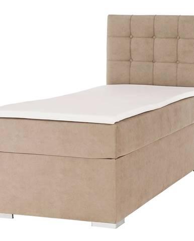 Boxspringová posteľ jednolôžko svetlohnedá 90x200 pravá DANY