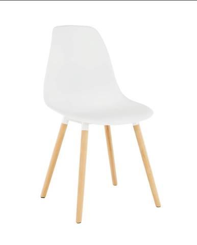 Stolička biela plast/buk KALISA poškodený tovar