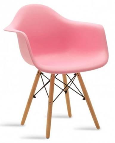 Jedálenská stolička Justy dub, ružová
