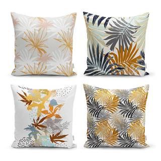 Súprava 4 dekoratívnych obliečok na vankúše Minimalist Cushion Covers Autumn Leaves, 45 x 45 cm