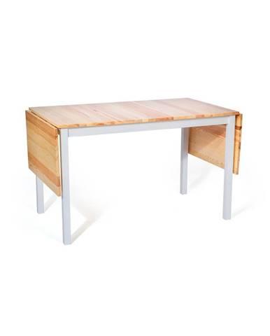 Borovicový rozkladací jedálenský stôl s bielou konštrukciou loomi.design Brisbane, 120 (200) x 70 cm