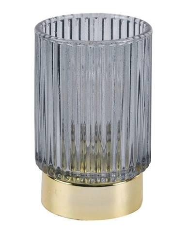 Sivá LED sklenená stolová lampa PT LIVING Ribbed