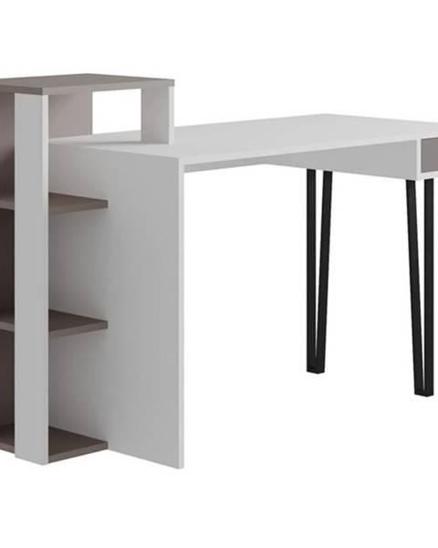 Sconto Písací stôl s regálom PICADILLY LOYD biela/svetlá mocha