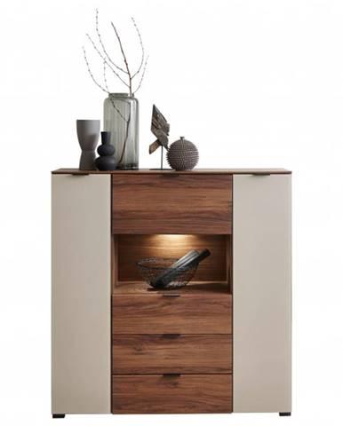 Komoda ZENO orech amber/satinované sklo farba čadič, šírka 120 cm
